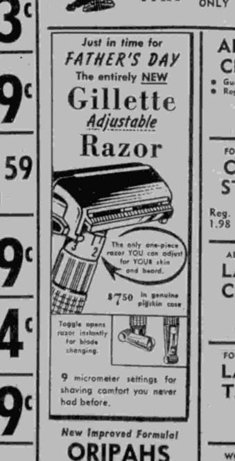 First Known Advertisement for an Adjustable Razor