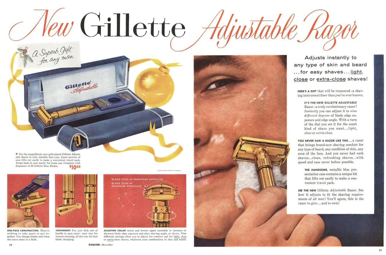 December 1957 Gillette Toggle Advertisement - Esquire Magazine