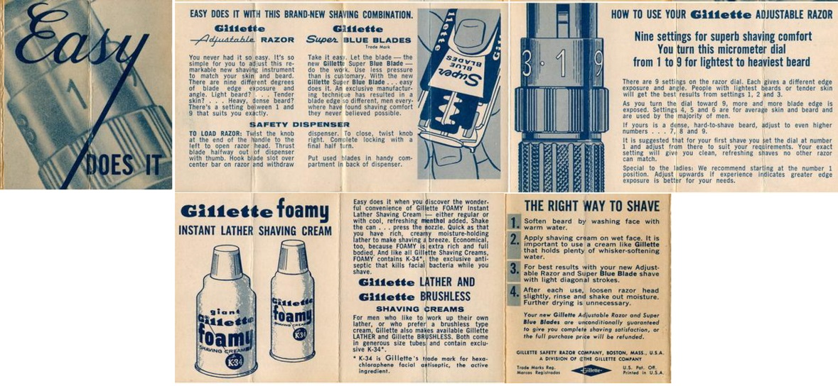 """Easy Does It"" Instructions (1959 E-3 to 1962 H-1) Super Blue Blades"