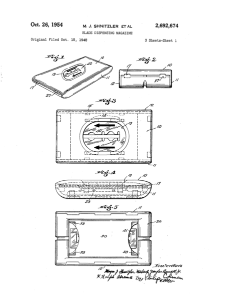 The 1948 Safe, Fast and Easy Double Edge Blade Dispenser with used blade compartment