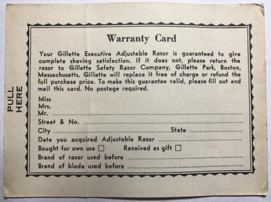 Executive Fatboy Warranty Card