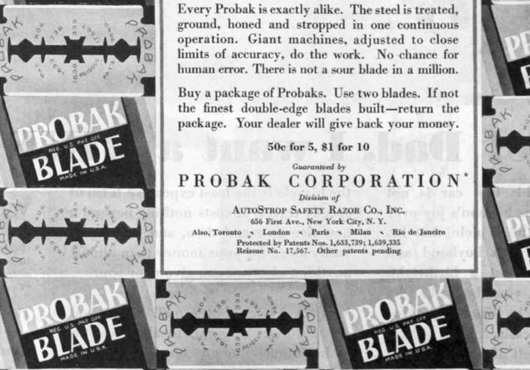 PROBAK Shocker Ad - March 1, 1930