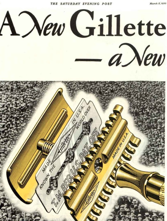 "Gillette ""New"" Reveal Ad - March 8, 1930"