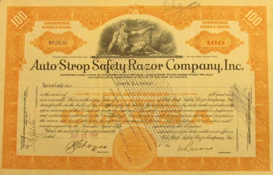AutoStrop Stock Certificate