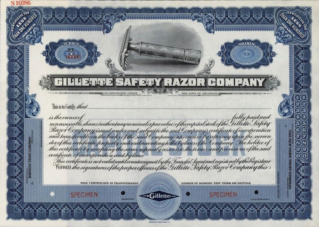 Gillette Stock Certificate